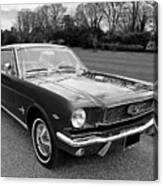 Stunning 1966 Mustang In Black And White Canvas Print