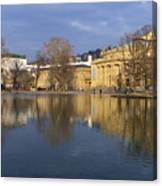 Stuttgart State Theater Beautiful Reflection In Blue Water Canvas Print