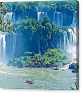 Subtropical Vegetation Surrounds Waterfalls In Iguazu Falls National Park-brazil Canvas Print