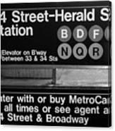 Subway 34 Street Canvas Print