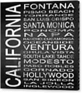 Subway California State 5 Square Canvas Print