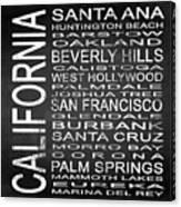 Subway California State Square Canvas Print