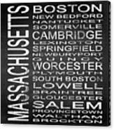 Subway Massachusetts State Square Canvas Print
