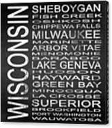 Subway Wisconsin State 2 Square Canvas Print