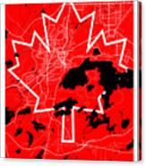 Sudbury Street Map - Sudbury Canada Road Map Art On Canada Flag Symbols Canvas Print