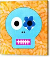 Sugar Skull Blue And Orange Canvas Print