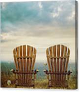 Summer Chairs Sand Dunes And Ocean In Background Canvas Print