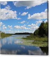 Summer Cloud Reflections On Little Indian Pond In Saint Albans Maine Canvas Print