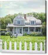 Summer Cottage And White Picket Fence With Flowers Canvas Print