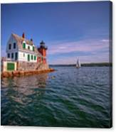 Summer Day At Rockland Breakwater Canvas Print