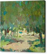 Summer Day In City Park. Trees Canvas Print