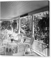 Summer Day On The Victorian Veranda Bw 03 Canvas Print