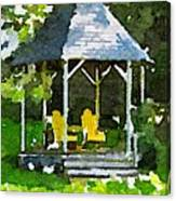 Summer Gazebo With Yellow Chairs Canvas Print