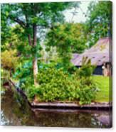 summer in old dutch village, Giethoorn Canvas Print