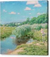 Summer Landscape With Children Canvas Print