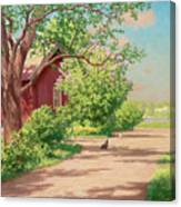 Summer Landscape With Hens Canvas Print