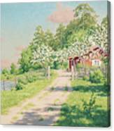 Summer Landscape With House Canvas Print