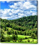 Summer Morning Meadow And Ridge Canvas Print