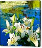 Summer Pond French Lilies Canvas Print