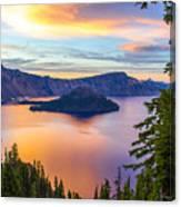 Sunset At Crater Lake, Oregon Canvas Print