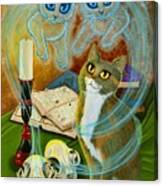 Summoning Old Friends - Ghost Cats Magic Canvas Print