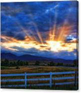 Sun Beams In The Sky At Sunset Canvas Print