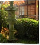 Sun Beams Over Japanese Stone Lantern Canvas Print