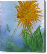Sun Flower And Dragonflies  At Dusk Canvas Print