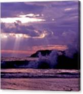 Sun Pokes Though Clouds By Stormy Sea Canvas Print