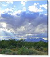 Sun Rays And Desert Landscape Canvas Print