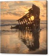 Sun Setting Behind Peter Iredale 0089 Canvas Print