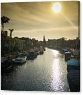 Sun Setting Over Canals Of Naples In Long Beach, Ca Canvas Print