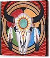 Sun Wheel Skull Canvas Print