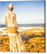Sunbathing By The Sea Canvas Print