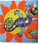 Sunbathing Lizards Canvas Print