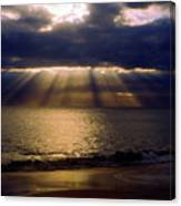 Sunbeams Radiating Through Clouds Before Sunset Canvas Print