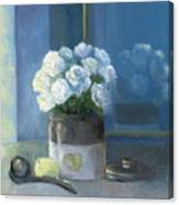 Sunday Morning And Roses - Blue Canvas Print
