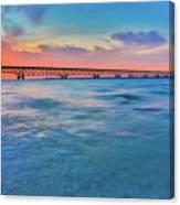 Sundown At Mackinac Bridge Canvas Print