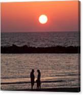 Sundown On Tel Aviv Beach Canvas Print