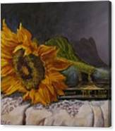 Sunflower And Book Canvas Print