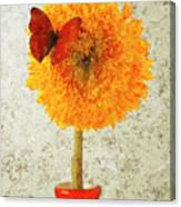 Sunflower And Red Butterfly Canvas Print