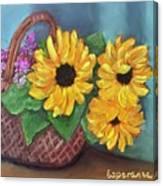 Sunflower Basket Canvas Print