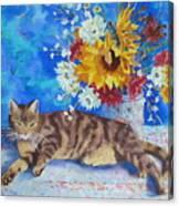 Sunflower Cat Canvas Print