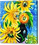 Sunflower On Black Vase Canvas Print
