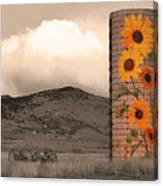 Sunflower Silo In Boulder County Colorado Sepia Color Print Canvas Print