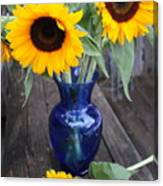 Sunflowers And Blue Vase - Still Life Canvas Print