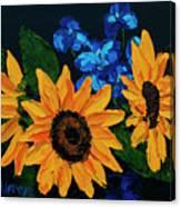 Sunflowers And Delphinium Canvas Print