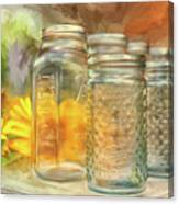 Sunflowers And Jars Canvas Print
