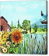 Sunflowers And Jaybird Canvas Print