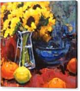 Sunflowers And Oranges Canvas Print